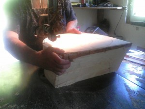 Hat block on the bandsaw (50-75 lbs)