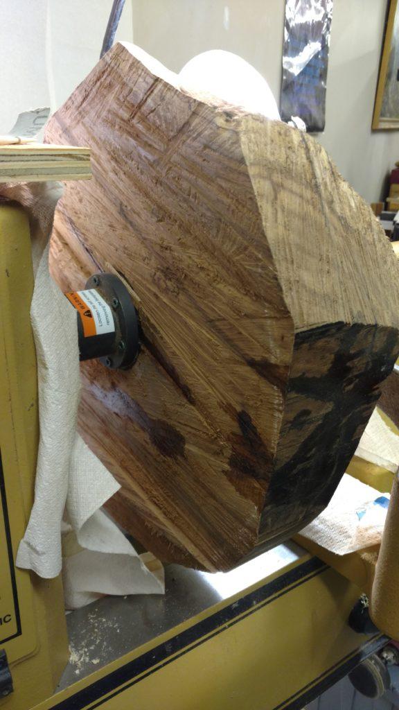 Mounted on the lathe back